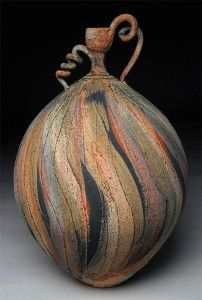 Rough Curly Vessel Nicholas Bernard Muted organic colors and classic forms distinguish the ceramic pieces created by Nicholas Bernard. His vessels add a splash of color and excitement that goes with many home decor statements. Glass Ceramic, Ceramic Clay, Earthenware, Stoneware, Sculptures Céramiques, Keramik Vase, Raku Pottery, Gourd Art, Objet D'art