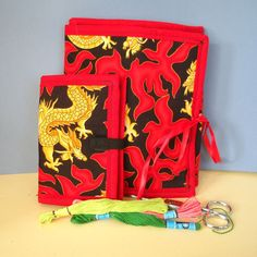 Fire Dragons Sewing Caddy Organizer Duo by threadsofmagique