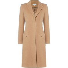Linea Revere collar camel coat (195 CAD) ❤ liked on Polyvore featuring outerwear, coats, women, camel, collar coat, beige coat, single-breasted trench coats, camel coat and fur-lined coats