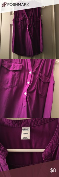 ON purple tank Old Navy purple tank with front pockets and buttons. Worn, in good condition Old Navy Tops Tank Tops