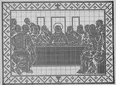 quadro da santa ceia em crochê filê