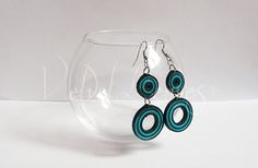 Black and Blue Quilled Earrings #2 by VelvetLeaves