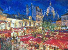 Night at Montmartre by CharskayaLucya Oil Canvas, Social Community, Worlds Largest, Pastel, Watercolor, Deviantart, Night, City, Artist