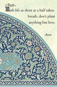 With life as short as a half taken breath, don't plant anything but love. Rumi