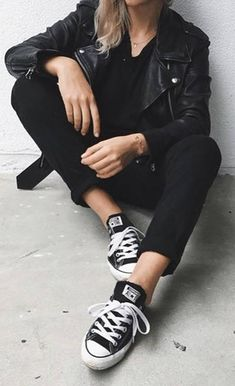 all black everything + chuck taylor accents