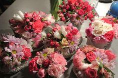 Flower centerpieces tea cups and tea pots so cute for wedding shower