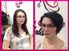 Proměna - z dlouhých vlasů do trendy krátkých. / Hair change - from long hair to short hair cut. Before and after.