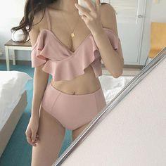 Swimwear Fashion, Bikini Swimwear, Sexy Bikini, Korean Bikini, Japanese Bikini, Mode Ulzzang, Asian Lingerie, Korean Girl Fashion, Pink Swimsuit