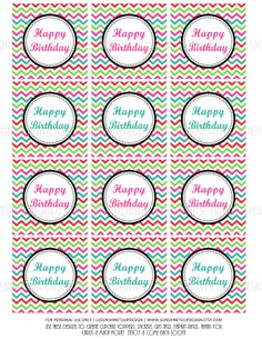 Printable Cupcake toppers, sticker labels & gift tags!  Print at home as many times as needed! Happy Birthday Chevron DIY Cupcake Toppers by sunshinetulipdesign, $6.00