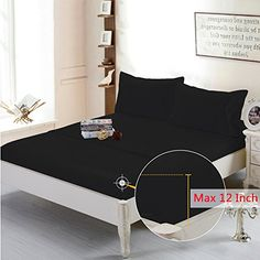 Hotel Collection Deep Pocket 4-Piece Bed Sheet Set Brushed Microfiber Ultra Soft Comfortable Wrinkle Fade Resistant (Black, Twin) //http://bestadjustablebed.us/product/hotel-collection-deep-pocket-4-piece-bed-sheet-set-brushed-microfiber-ultra-soft-comfortable-wrinkle-fade-resistant-black-twin/