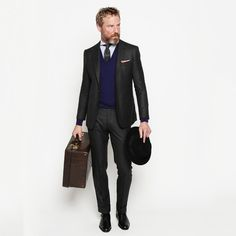 @Ovadia & Sons Hand-Tailored Charcoal Wool Suit