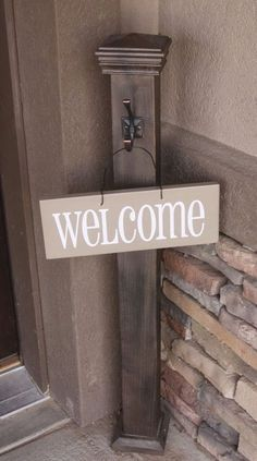 Front porch welcome post ideas are sure to inspire your next project. It will add warmth and charm to your porch. Find the best designs for Welcome Post, Porch Posts, Do It Yourself Furniture, House With Porch, Porch Signs, Front Door Decor, Front Porch Decorations, Front Door Signs, Handmade Home Decor