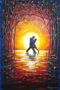 Items similar to HUGE Original Acrylic Painting - Tango Dancers -LARGE Colorful Painting - Sunset Landscape - Acryl On Canvas - Contemporary Fine Art on Etsy Easy Canvas Painting, Love Painting, Canvas Art, Canvas Paintings, Tango Dancers, Art Africain, Aesthetic Painting, Sunset Landscape, Traditional Paintings