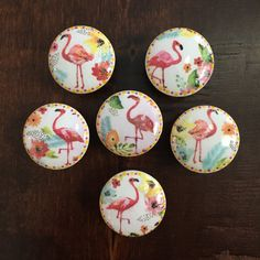1.5 inch pink flamingo cabinet knobs drawer by HolyChicBoutiqueCo