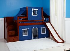 Boys Low Loft with Top Tent & Slide