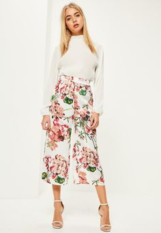 Missguided - White Floral Print Satin Culottes