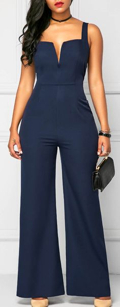 Navy Wide Strap High Waist Jumpsuit for WORK & WEDDING. Free shipping worldwide at rosewe.com.
