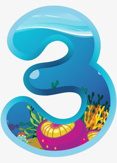 Cartoon number PNG and Clipart Girls 3rd Birthday, Birthday Party Themes, Shark Family, Birthday Template, Under The Sea Theme, Shark Party, Christmas Frames, 3rd Baby, Alphabet And Numbers