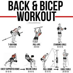 Back and biceps workout. T bar row. Pull-ups Standing curls Chest supported rows Incline curls Pull down Cable curls backworkout bicepsworkout back biceps pullups inclinecurls pulldowns cablecurls Gym Workout Chart, Gym Workout Tips, Weight Training Workouts, Fun Workouts, At Home Workouts, Back Workouts, Gym Tips, Back And Bicep Workout, Back And Biceps
