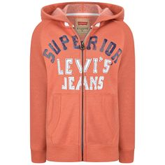 Levis Boys Orange Superior Zip Up Top