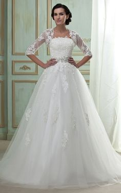 Strapless Lace A Line Gown With Bolero And Tulle Overlay