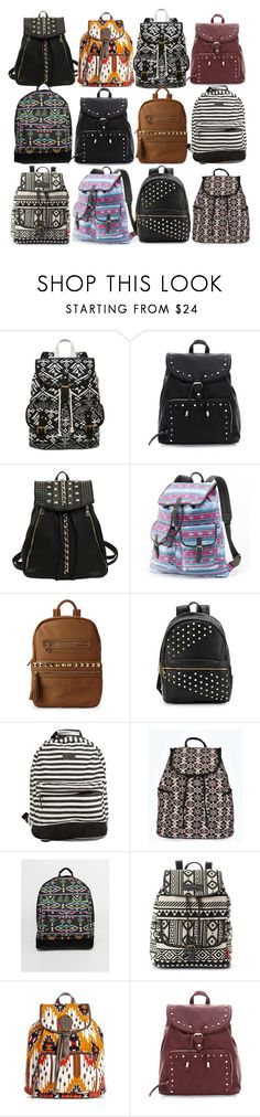 """""""Aria Montgomery inspired backpacks"""" by liarsstyle ❤ liked on Polyvore featuring SM New York, Candie's, Nila Anthony, Saks Fifth Avenue, Rip Curl, Boohoo, Mi-Pac, UNIONBAY, Mossimo Supply Co. and school"""