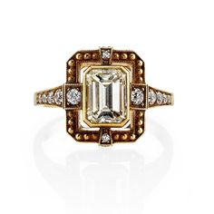 Hand Crafted Emerald Cut Diamond Engagement Ring | From a unique collection of vintage wedding rings at https://www.1stdibs.com/jewelry/rings/wedding-rings/
