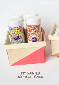 Super easy DIY painted storage boxes for your kitchen or pantry!