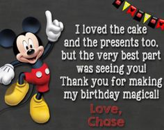 Disney Mickey Mouse Clubhouse Birthday Thank you card