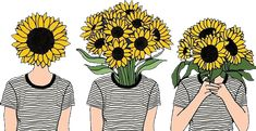 Find more awesome flowers images on PicsArt. Tumblr Hipster, Tumblr Girls, Tumblr Stickers, Cute Stickers, Sun Drawing, Sunflower Drawing, Sun Painting, Vent Art, Small Canvas Art