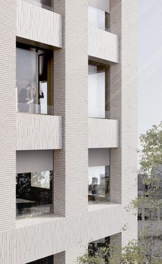 Brick Architecture, Architecture Details, Contemporary Architecture, Small Buildings, Modern Buildings, Centre Hospitalier, Co Housing, Glazed Brick, Stone Facade