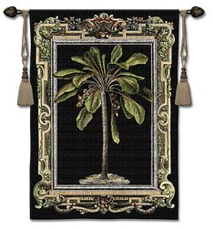 """$159.99 Masterpiece Palm tapestry wall art 38"""" x 53"""" by Artist: Charles Wysocki. Palm Tree & Tropical Tapestry Wall Hanging Art at http://www.delectably-yours.com/Tropical-Palm-Decor-C27.aspx"""