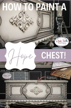 How to paint a neutral hope chest using Dixie Belle Paint in Drop Cloth, French Linen, Hurricane Gray, and Stormy Seas! Desk Makeover, Furniture Makeover, Painted Cedar Chest, Chest Furniture, Diy Furniture, Gray Painted Furniture, Belle French, Painting Tips, Painting Techniques