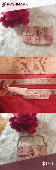 """Elaine Turner Snakeskin Clutch w/ Chain Strap NWT Elaine Turner Snakeskin Clutch w/ Chain Strap NWT                                                            Beautiful Elaine Turner Raffia & Snake Embossed Leather Clutch with Chain Strap NWT  Features Flap Front with Bamboo Turn Lock  Pink Snakeskin  Gold Stud Detail  Removable Gold-Tone Chain Strap  Interior Features Pink Logo Lining  Zipper Pocket  Measures Approx  12.25"""" by 7"""" Elaine Turner Bags Clutches & Wristlets"""