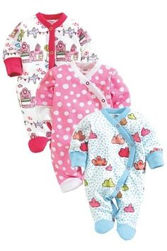 Buy Bright Sleepsuits Three Pack from the Next UK online shop Latest Fashion For Women, Teen Fashion, Toddler Outfits, Boy Outfits, Pretty Outfits, Cute Outfits, Cute Baby Clothes, Babies Clothes, Girls Pajamas