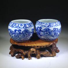 Vintage Chinese  Bird Feeders  Jingdezhen  by BluePearEmporium