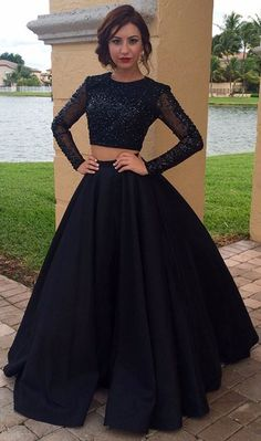 sexy black 2 piece prom dresses, black sexy 2 piece prom dresses, prom dresses with long sleeves, prom dresses with beaded, dresses for women, women's prom dresses, new arrival prom dresses, high quality prom dresses, dresses for women 2017