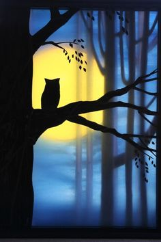 """We first noticed the work of Clayton Stang in Delphi's Artist Gallery. His glass shadowbox """"Night Owl"""" received many comments in our gallery and on Fac Wine And Canvas, Night Owl, Owl Art, Artist Gallery, Art Plastique, Tree Art, Painting Inspiration, Art Lessons, Painting & Drawing"""