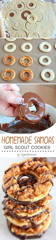 Homemade Samoas Cookies - Even BETTER than the originals! Whip up a batch of your favorite crisp cookies, coated in caramel, sprinkled with toasted coconut, and striped with a dark chocolaty coating.