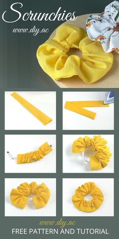 DIY Free Sewing Pattern for Beginners Scrunchies Diy Hair Scrunchies, How To Make Scrunchies, Diy Hair Bows, Easy Sewing Projects, Sewing Projects For Beginners, Sewing Tutorials, Sewing Crafts, Hair Tutorials, Sewing Diy