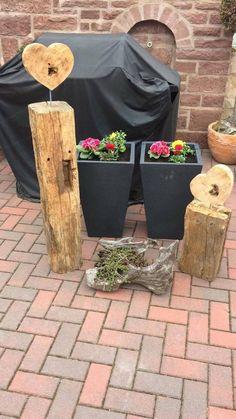 Holzbalken,alt mit Herz aus Eichenholz, Deko, 2-er Set   | eBay