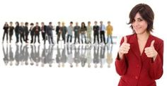 motivation: business woman in front of a group of people