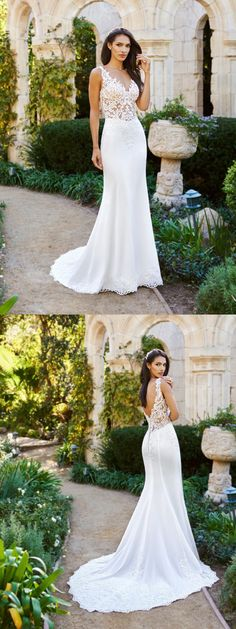 New Arrival White lace sexy V-neck sleeveless cheap elegant tail wedding  dress a26e7e155955
