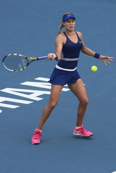 Eugenie Bouchard Photos: Dongfeng Motor Wuhan Open: Day 5. Eugenie Bouchard of Canada in action during her match against Alize Cornet of France on day five of 2014 Dongfeng Motor Wuhan Open at Optics Valley International Tennis Center on September 25, 2014 in Wuhan, China.