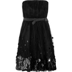 Moschino Cheap and Chic Paillette-embellished silk and tulle dress ($564) ❤ liked on Polyvore