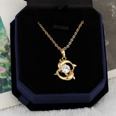45.5cm 18K Gold Plated Double Dolphin Shape Inlay Zircon Pendant Copper Necklace