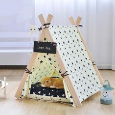 SUFEILE Wooden Pet tent Dog house Stripe Foldable Pet House Tent Wood Kennel Puppy love Dog Cat Bed House with Cushion ped SE15 #cattentbed