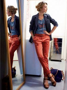 Veste coton doublure imprimée pois et pantalon chino coton