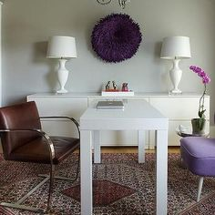 Office with Purple Accents, Contemporary, Den/library/office, Benjamin Moore Stonington Gray