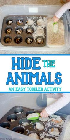 HIDE THE ANIMALS: Your toddler will love this quick sensory bin activity! Perfect quick and easy indoor activity; toddler activity; preschool activity; rice bin